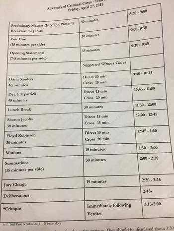 Trial Time Schedule